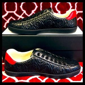 New Gucci Black Leather ACE GG Rhombus Sneakers